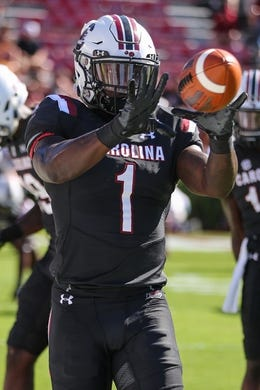Oct 13, 2018; Columbia, SC, USA;  South Carolina Gamecocks wide receiver Deebo Samuel (1) makes a catch during warm ups against the Texas A&M Aggies at Williams-Brice Stadium. Mandatory Credit: Jim Dedmon-USA TODAY Sports