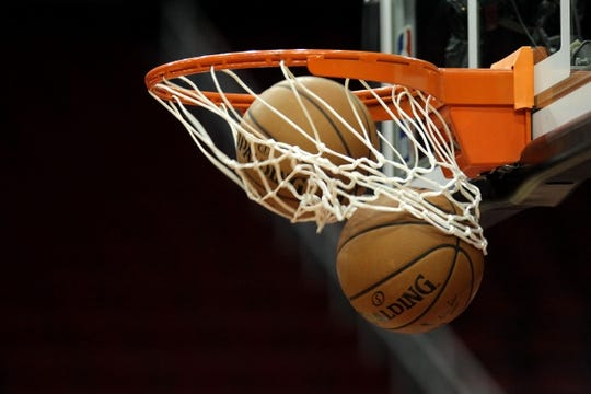 Oct 17, 2018; Houston, TX, USA; A shot of two basketballs going through the hoop prior to the game between the Houston Rockets and the New Orleans Pelicans at Toyota Center. Mandatory Credit: Erik Williams-USA TODAY Sports