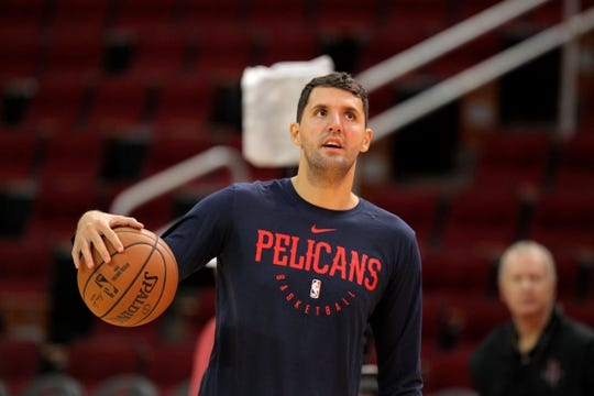 Oct 17, 2018; Houston, TX, USA; New Orleans Pelicans forward Nikola Mirotic (3) warms up prior to the game against the Houston Rockets at Toyota Center. Mandatory Credit: Erik Williams-USA TODAY Sports