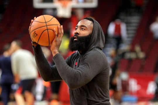 Oct 17, 2018; Houston, TX, USA; Houston Rockets guard James Harden (13) warms up prior to the game against the New Orleans Pelicans at Toyota Center. Mandatory Credit: Erik Williams-USA TODAY Sports