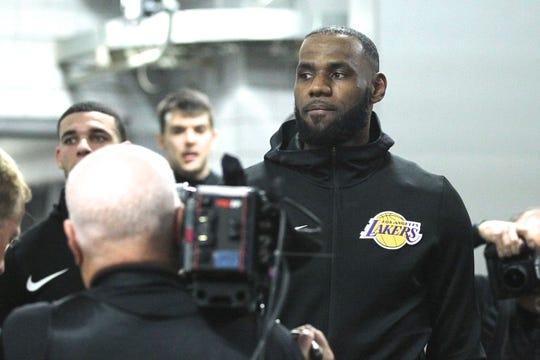 Oct 18, 2018; Portland, OR, USA;  Los Angeles Lakers forward LeBron James (23) walks with teammates to enter Moda Center to play the Portland Trail Blazers. Mandatory Credit: Jaime Valdez-USA TODAY Sports