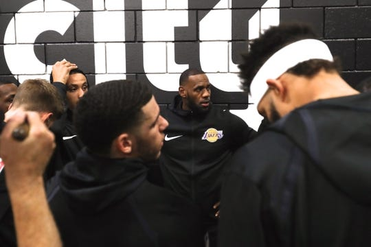 Oct 18, 2018; Portland, OR, USA;  Los Angeles Lakers forward LeBron James (23) huddles with teammates before entering Moda Center to play the Portland Trail Blazers. Mandatory Credit: Jaime Valdez-USA TODAY Sports