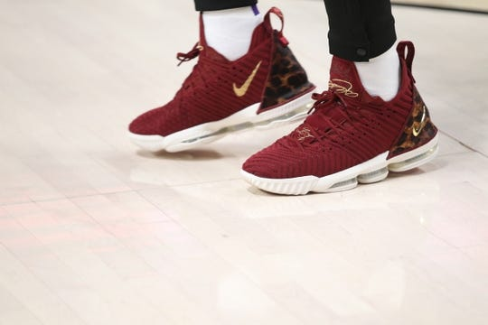 Oct 18, 2018; Portland, OR, USA;  Shoes worn by Los Angeles Lakers forward LeBron James (23) in the game against the Portland Trail Blazers at Moda Center. Mandatory Credit: Jaime Valdez-USA TODAY Sports