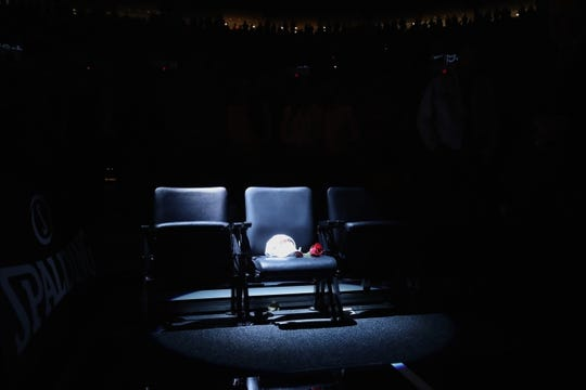 Oct 18, 2018; Portland, OR, USA; A spotlight shines where Trail Blazers' owner Paul Allen sat when he attended  games at Moda Center. Mandatory Credit: Jaime Valdez-USA TODAY Sports