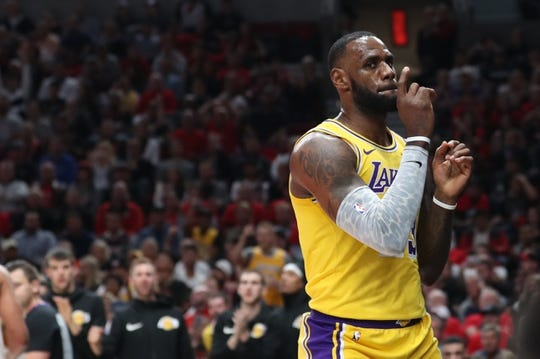 Oct 18, 2018; Portland, OR, USA;  Los Angeles Lakers forward LeBron James (23) reacts after scoring in the first half against the Portland Trail Blazers at Moda Center. Mandatory Credit: Jaime Valdez-USA TODAY Sports