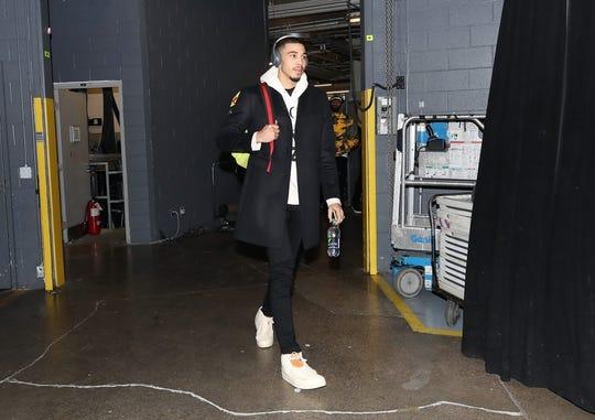 Oct 19, 2018; Toronto, Ontario, CAN; Boston Celtics forward Jayson Tatum (0) arrives at the arena before their game against the Toronto Raptors at Scotiabank Arena. Mandatory Credit: Tom Szczerbowski-USA TODAY Sports