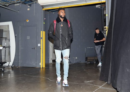 Oct 19, 2018; Toronto, Ontario, CAN; Boston Celtics forward Jaylen Brown (7) arrives at the arena before their game against the Toronto Raptors at Scotiabank Arena. Mandatory Credit: Tom Szczerbowski-USA TODAY Sports