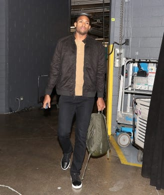 Oct 19, 2018; Toronto, Ontario, CAN; Boston Celtics forward Al Horford (42) arrives at the arena before a game against the Toronto Raptors at Scotiabank Arena. Mandatory Credit: Tom Szczerbowski-USA TODAY Sports