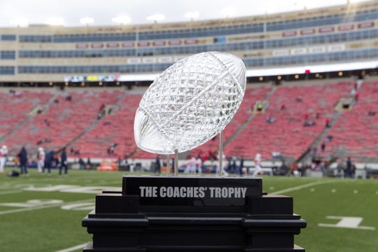 Oct 20, 2018; Madison, WI, USA; The Amway Coaches Trophy on display prior to the game between the Illinois Fighting Illini and Wisconsin Badgers at Camp Randall Stadium. Mandatory Credit: Jeff Hanisch-USA TODAY Sports