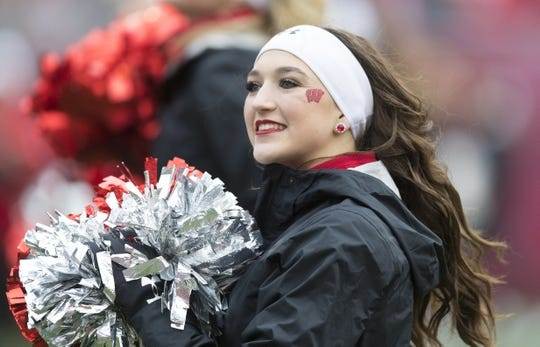 Oct 20, 2018; Madison, WI, USA; Wisconsin Badgers cheerleaders peform during the first quarter against the Illinois Fighting Illini at Camp Randall Stadium. Mandatory Credit: Jeff Hanisch-USA TODAY Sports