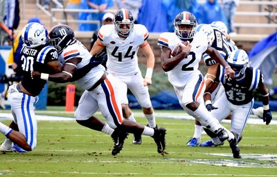 Oct 20, 2018; Durham, NC, USA; Virginia Cavaliers receiver Joe Reed (2)  runs the ball during the first half against the Duke Blue Devils at Wallace Wade Stadium. Mandatory Credit: Rob Kinnan-USA TODAY Sports