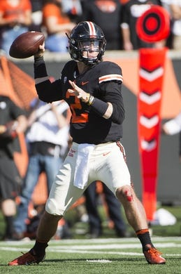Oct 20, 2018; Corvallis, OR, USA; Oregon State Beavers quarterback Conor Blount (2) throws a pass during the first half against the California Golden Bears at Reser Stadium. Mandatory Credit: Troy Wayrynen-USA TODAY Sports