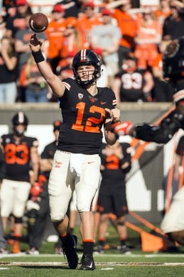 Oct 20, 2018; Corvallis, OR, USA; Oregon State Beavers quarterback Jack Colletto (12) throws a pass during the second half against the California Golden Bears at Reser Stadium. The California Golden Bears beat the Oregon State Beavers 49-7. Mandatory Credit: Troy Wayrynen-USA TODAY Sports