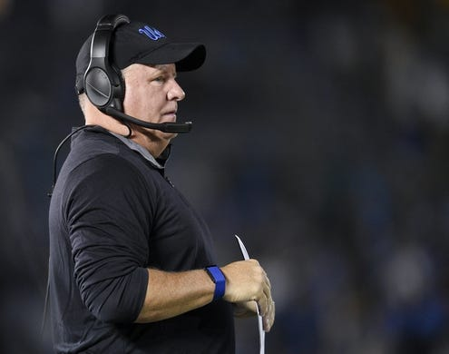 Oct 20, 2018; Pasadena, CA, USA; UCLA Bruins head coach Chip Kelly looks on during the first half against the Arizona Wildcats at Rose Bowl. Mandatory Credit: Kelvin Kuo-USA TODAY Sports