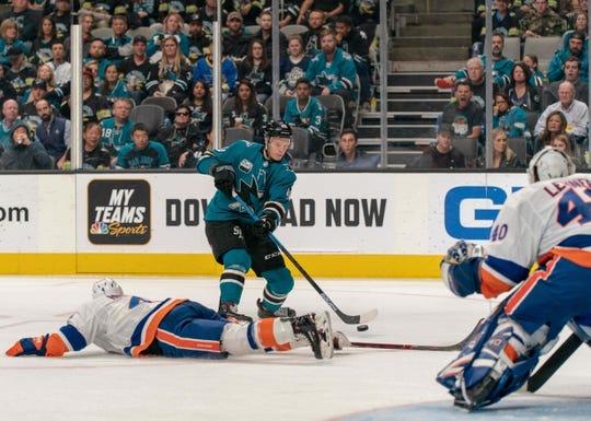 Oct 20, 2018; San Jose, CA, USA; San Jose Sharks center Tomas Hertl (48) shoots the puck against New York Islanders goaltender Robin Lehner (40) during the second period at SAP Center at San Jose. Mandatory Credit: Neville E. Guard-USA TODAY Sports