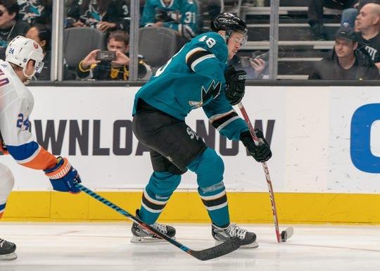 Oct 20, 2018; San Jose, CA, USA; San Jose Sharks center Tomas Hertl (48) passes the puck during the second period against the New York Islanders at SAP Center at San Jose. Mandatory Credit: Neville E. Guard-USA TODAY Sports