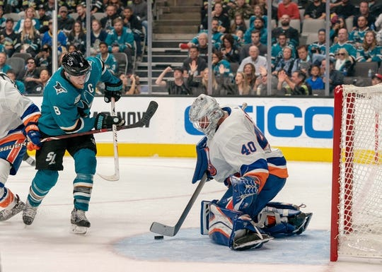 Oct 20, 2018; San Jose, CA, USA; New York Islanders goaltender Robin Lehner (40) makes a save against San Jose Sharks center Joe Pavelski (8) during the second period at SAP Center at San Jose. Mandatory Credit: Neville E. Guard-USA TODAY Sports