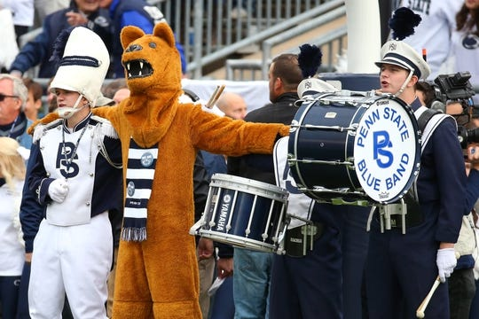 Oct 13, 2018; University Park, PA, USA; The Penn State Nittany Lion performs prior to the game against the Michigan State Spartans at Beaver Stadium. Mandatory Credit: Rich Barnes-USA TODAY Sports