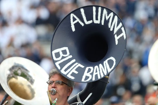 Oct 13, 2018; University Park, PA, USA; A tuba player performs with the Penn State Nittany Lions alumni Blue Band prior to the game against the Michigan State Spartans at Beaver Stadium. Mandatory Credit: Rich Barnes-USA TODAY Sports