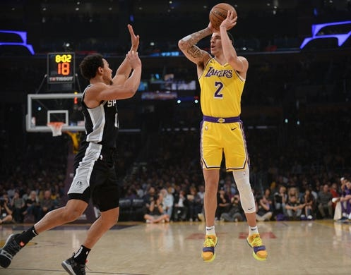 October 22, 2018; Los Angeles, CA, USA; Los Angeles Lakers guard Lonzo Ball (2) shoots against San Antonio Spurs guard Bryn Forbes (11) during the first half at Staples Center. Mandatory Credit: Gary A. Vasquez-USA TODAY Sports