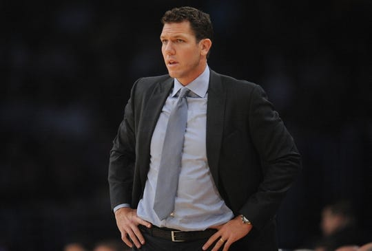 October 22, 2018; Los Angeles, CA, USA; Los Angeles Lakers head coach Luke Walton watches game action against the San Antonio Spurs during the first half at Staples Center. Mandatory Credit: Gary A. Vasquez-USA TODAY Sports