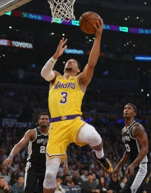 October 22, 2018; Los Angeles, CA, USA; Los Angeles Lakers guard Josh Hart (3) moves in to score a basket against the San Antonio Spurs during the first half at Staples Center. Mandatory Credit: Gary A. Vasquez-USA TODAY Sports