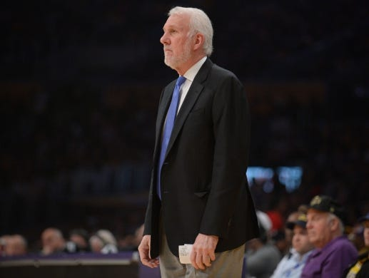 October 22, 2018; Los Angeles, CA, USA; San Antonio Spurs head coach Gregg Popovich watches game action against the Los Angeles Lakers during the first half at Staples Center. Mandatory Credit: Gary A. Vasquez-USA TODAY Sports