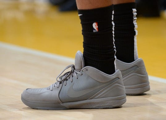 October 22, 2018; Los Angeles, CA, USA; The shoes of San Antonio Spurs guard DeMar DeRozan (10) pictured at Staples Center. Mandatory Credit: Gary A. Vasquez-USA TODAY Sports