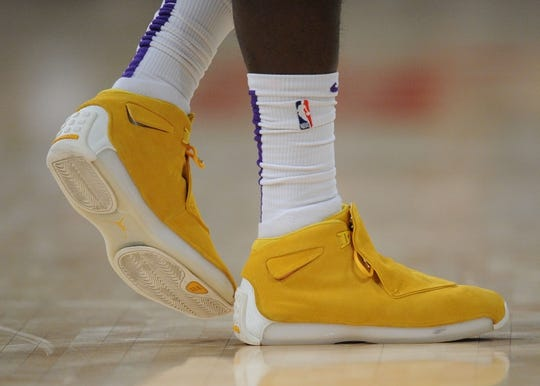 October 22, 2018; Los Angeles, CA, USA; The shoes of Los Angeles Lakers guard Lance Stephenson (6) pictured at Staples Center. Mandatory Credit: Gary A. Vasquez-USA TODAY Sports