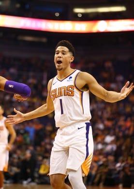 Oct 24, 2018; Phoenix, AZ, USA; Phoenix Suns guard Devin Booker reacts against the Los Angeles Lakers at Talking Stick Resort Arena. Mandatory Credit: Mark J. Rebilas-USA TODAY Sports