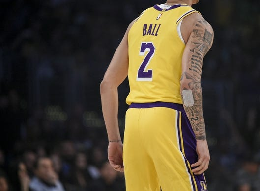 Oct 25, 2018; Los Angeles, CA, USA; Los Angeles Lakers guard Lonzo Ball (2) stands on the court during the first half against the Denver Nuggets at Staples Center. Mandatory Credit: Kelvin Kuo-USA TODAY Sports