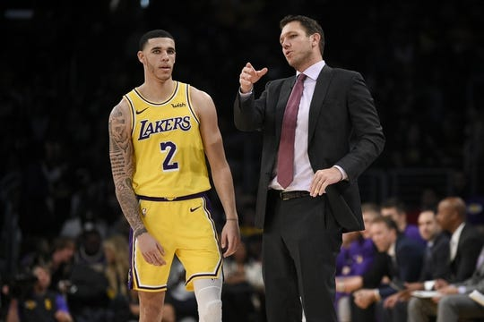 Oct 25, 2018; Los Angeles, CA, USA; Los Angeles Lakers head coach Luke Walton (right) talks with guard Lonzo Ball (2) during the second half against the Denver Nuggets at Staples Center. Mandatory Credit: Kelvin Kuo-USA TODAY Sports