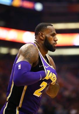 Oct 24, 2018; Phoenix, AZ, USA; Los Angeles Lakers forward Lebron James against the Phoenix Suns at Talking Stick Resort Arena. Mandatory Credit: Mark J. Rebilas-USA TODAY Sports