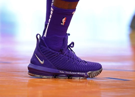 Oct 24, 2018; Phoenix, AZ, USA; Detailed view of the Nike basketball shoes worn by Los Angeles Lakers forward Lebron James (23) against the Phoenix Suns at Talking Stick Resort Arena. Mandatory Credit: Mark J. Rebilas-USA TODAY Sports