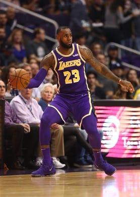 Oct 24, 2018; Phoenix, AZ, USA; Los Angeles Lakers forward Lebron James (23) against the Phoenix Suns at Talking Stick Resort Arena. Mandatory Credit: Mark J. Rebilas-USA TODAY Sports