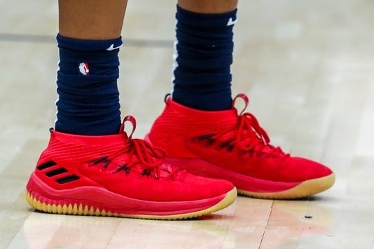 Oct 26, 2018; New Orleans, LA, USA; A detail of shoes worn by New Orleans Pelicans guard Frank Jackson (15) during warmups against the Brooklyn Nets at Smoothie King Center. Mandatory Credit: Stephen Lew-USA TODAY Sports