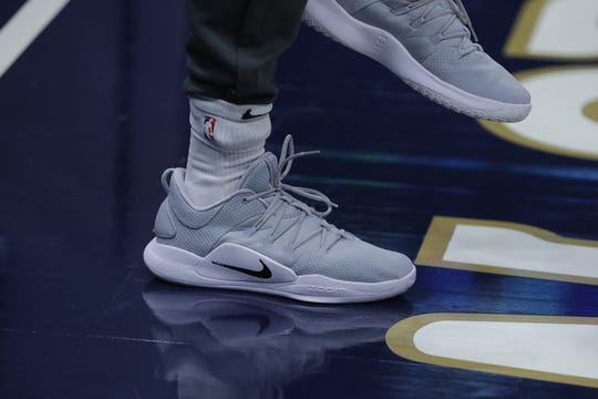 Oct 26, 2018; New Orleans, LA, USA; A detail of shoes worn by Brooklyn Nets guard Shabazz Napier (13) as he warms up before the game against the New Orleans Pelicans at Smoothie King Center. Mandatory Credit: Stephen Lew-USA TODAY Sports