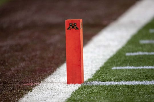 Oct 26, 2018; Minneapolis, MN, USA; A general view of the end zone marker before a game between the Minnesota Golden Gophers and Indiana Hoosiers at TCF Bank Stadium. Mandatory Credit: Jesse Johnson-USA TODAY Sports