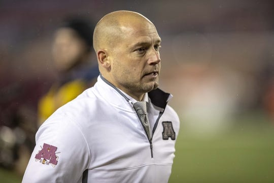 Oct 26, 2018; Minneapolis, MN, USA; Minnesota Golden Gophers head coach P.J. Fleck looks on during pre game before a game against the Indiana Hoosiers at TCF Bank Stadium. Mandatory Credit: Jesse Johnson-USA TODAY Sports