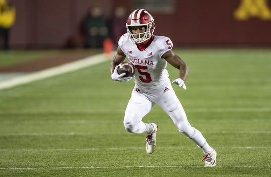 Oct 26, 2018; Minneapolis, MN, USA; Indiana Hoosiers wide receiver J-Shun Harris II (5) rushes with the ball for a first down in the first quarter against the Minnesota Golden Gophers at TCF Bank Stadium. Mandatory Credit: Jesse Johnson-USA TODAY Sports