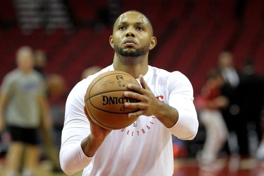 Oct 26, 2018; Houston, TX, USA; Houston Rockets guard Eric Gordon (10) warms up prior to the game against the Los Angeles Clippers at Toyota Center. Mandatory Credit: Erik Williams-USA TODAY Sports