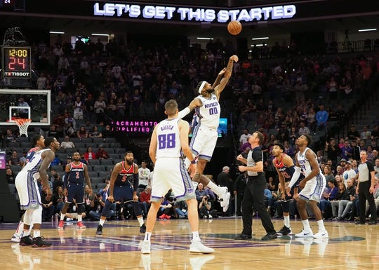 Oct 26, 2018; Sacramento, CA, USA; Sacramento Kings center Willie Cauley-Stein (00) jumps up for the tip off against the Washington Wizards during the first quarter at Golden 1 Center. Mandatory Credit: Kelley L Cox-USA TODAY Sports