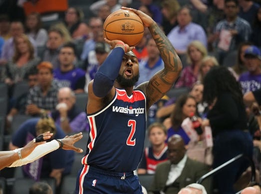 Oct 26, 2018; Sacramento, CA, USA; Washington Wizards guard John Wall (2) shoots the ball against the Sacramento Kings during the first quarter at Golden 1 Center. Mandatory Credit: Kelley L Cox-USA TODAY Sports