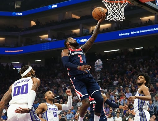 Oct 26, 2018; Sacramento, CA, USA; Washington Wizards guard John Wall (2) goes up for layup against the Sacramento Kings during the first quarter at Golden 1 Center. Mandatory Credit: Kelley L Cox-USA TODAY Sports