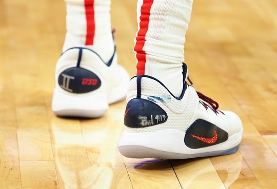 Oct 26, 2018; Sacramento, CA, USA; The shoes of Washington Wizards guard Bradley Beal (3) during the second quarter against the Sacramento Kings at Golden 1 Center. Mandatory Credit: Kelley L Cox-USA TODAY Sports