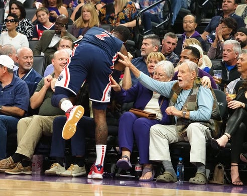 Oct 26, 2018; Sacramento, CA, USA; Washington Wizards guard John Wall (2) goes into the fans along the sideline against the Sacramento Kings during the first quarter at Golden 1 Center. Mandatory Credit: Kelley L Cox-USA TODAY Sports