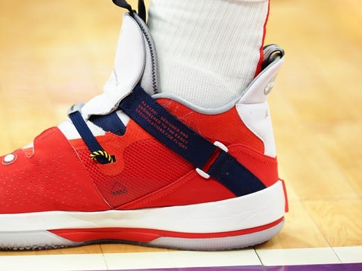 Oct 26, 2018; Sacramento, CA, USA; The shoes of Washington Wizards forward Jeff Green (32) during the third quarter against the Sacramento Kings at Golden 1 Center. Mandatory Credit: Kelley L Cox-USA TODAY Sports