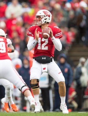 Oct 20, 2018; Madison, WI, USA; Wisconsin Badgers quarterback Alex Hornibrook (12) during the game against the Illinois Fighting Illini at Camp Randall Stadium. Mandatory Credit: Jeff Hanisch-USA TODAY Sports
