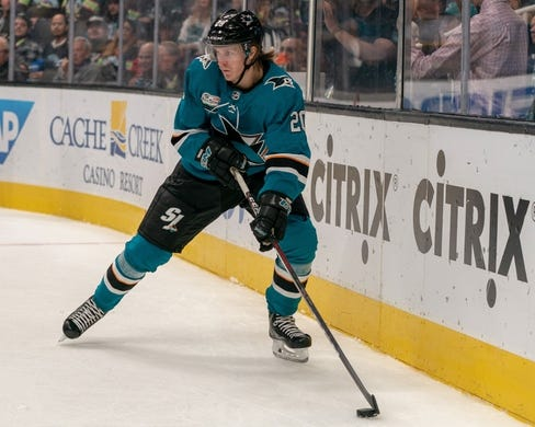 Oct 20, 2018; San Jose, CA, USA; San Jose Sharks left wing Marcus Sorensen (20) controls the puck New York Islanders during the second period at SAP Center at San Jose. Mandatory Credit: Neville E. Guard-USA TODAY Sports