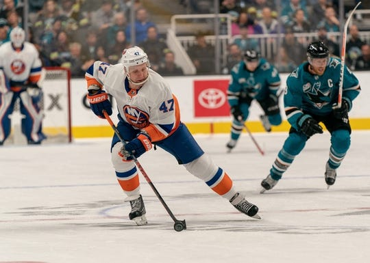 Oct 20, 2018; San Jose, CA, USA; New York Islanders center Leo Komarov (47) controls the puck against the San Jose Sharks during the first period at SAP Center at San Jose. Mandatory Credit: Neville E. Guard-USA TODAY Sports